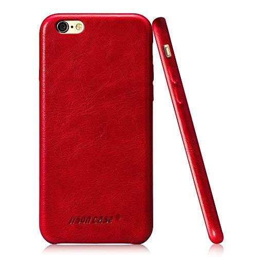 Jisoncase JS Premium Echt Leder Sleek Case Rückabdeckung Slim Snap auf Hard Case für iPhone 6/6S Plus js-i6u-01a10, Leder, rot, iPhone 6/6S Plus Echt Leder Snap