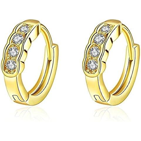 Alimab Gioielli Placcato in oro donne cerchio rotondo canale impostazione Rose Orecchini in oro
