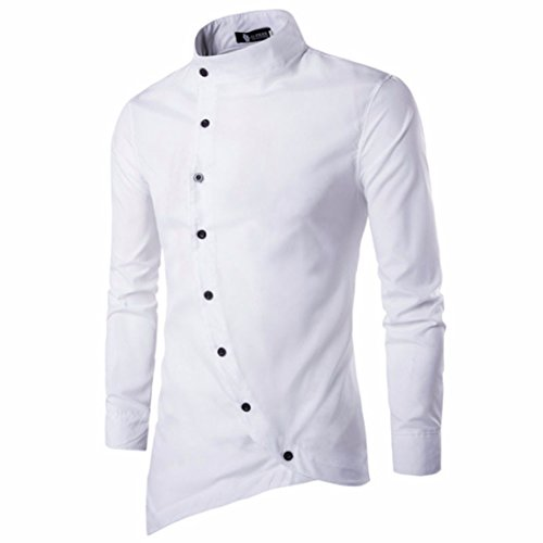 Men's Solid color Chemise Long Sleeves Slim Fit Casual Shirts white men shirt