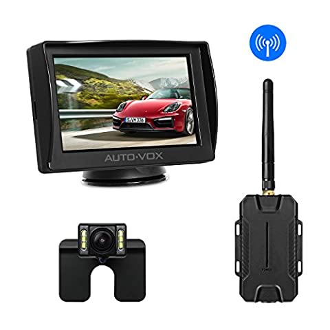 AUTO-VOX M1W Wireless Backup Camera Kit,IP 68 Waterproof LED Super Night Vision License Plate Reverse Rear View Back Up Car Camera,4.3'' TFT LCD Rearview Monitor for Vans,Camping