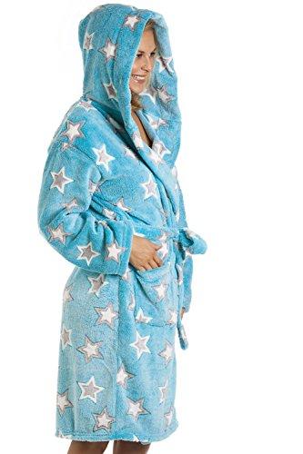 Peignoir en polaire - motif étoiles - bleu aquatique Bleu