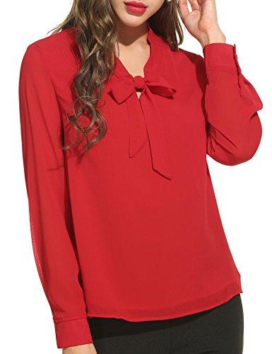 Acevog t-shirt da donna con scollo a v, manica lunga, camicia a maniche lunghe, camicetta in seta