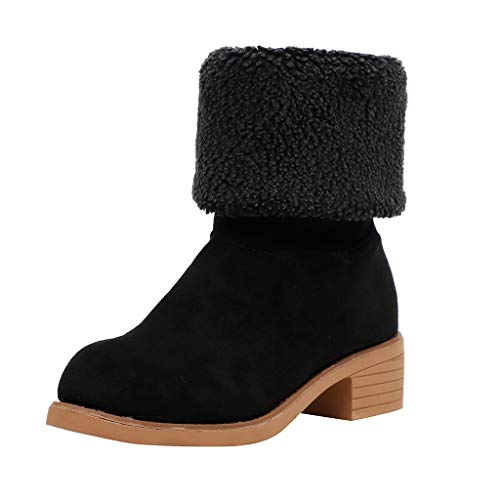 feiXIANG Damenschuhe Stiefel Warme Schuhe Winterschneestiefel Plüsch Boots Blockabsatz Winterschuhe Outdoor rutschfeste Schuhe (Schwarz,35)
