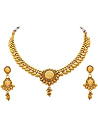 Meenaz Fashion Jewellery For Womens Gold Plated Jewellery Set Necklace For Women Wedding Bridal Saree With Earrings...