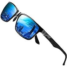 Duco Gafas de sol con montura de metal polarizadas rectangulares clásicas para hombres con templo de