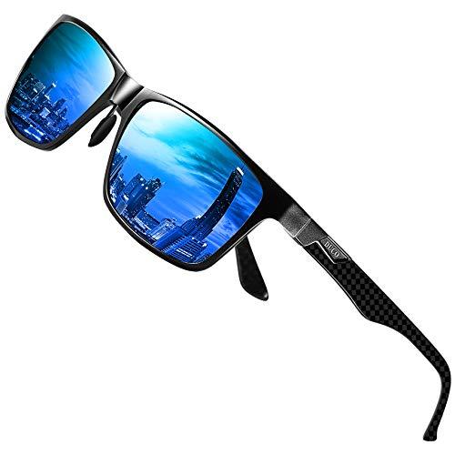 DUCO Herren Polarisierte Sonnenbrille mit Rechteckig Metallrahmen und Kohlefaser Brillenbügel UV400 CAT 3 CE 8206 (Schwarz Rahmen Blau Linse)