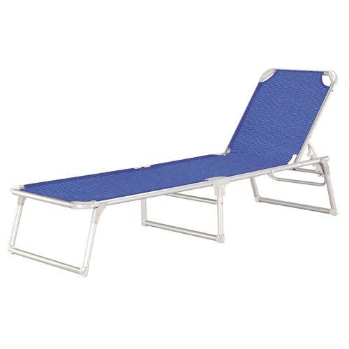 Sedia sdraio seduta alta con cuscino e braccioli in alluminio 99x64x23/27/89h cm. blu