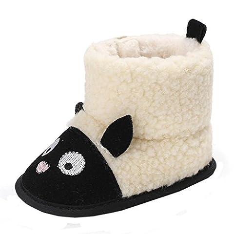 Chaussons Bébé Filles Bottes Chaud Souple Mignon Coton, Manadlian Doux Bouton Démarrage Enfant Prémarche Chaussures (12 ~ 18 Mois, Noir)