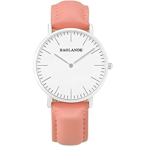 Alienwork Classic St.Mawes Reloj cuarzo elegante cuarzo moda diseño atemporal clásico Piel de vaca plata pink