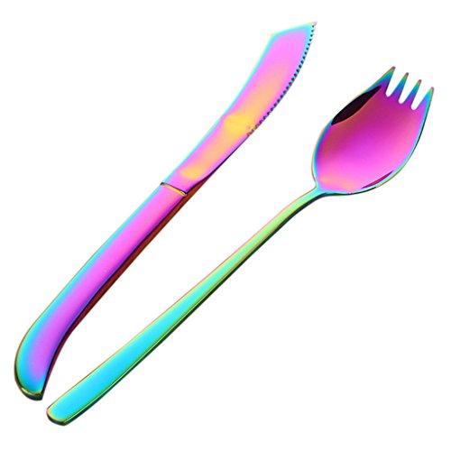 MagiDeal Edelstahl Göffel und Messer Set für Outdoor und Camping, Spork 2in1 Löffel und Gabel + Messer Besteckset - Bunt, 21,3 cm