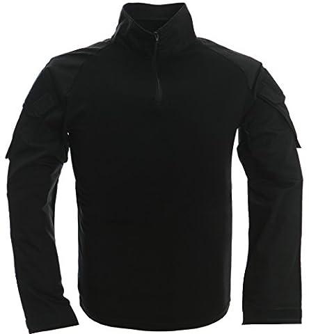 TACVASEN Black Military Mens Shirt Collar Hiking Travel Uniform Army UK Long Sleeve (Militari T-shirt)