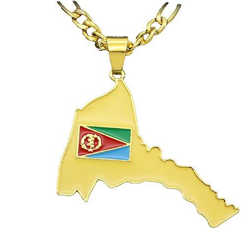 MCsays Herren Halskette, Hip-Hop-Stil, Anhänger-Design: Landkarte und Flagge von Eritrea, Figarokette aus Kupfer, goldfarben