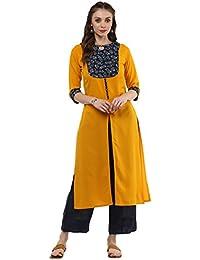 [Sponsored]Janasya Women's Yellow Crepe Front Slit Solid Kurta
