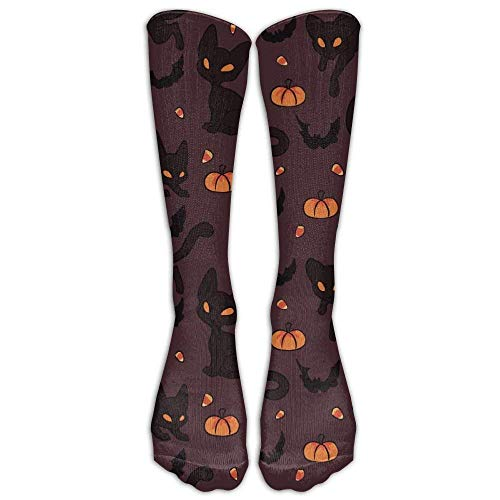 (Novelty Gym Crew Long Stockings Sock Halloween Black Cats Pumpkin Men Classics Comfortable Casual Running Knee High Socks One Size)