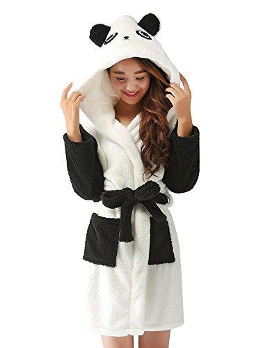 OCHENTA Damen Bademantel Tier Cosplay Mittellang Hoodie mit Kapuze Panda