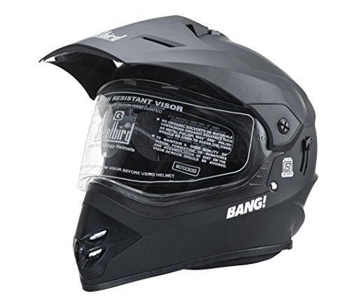 Steelbird SB-42 Bang Motocross mat black full face Helmet (Black) 600MM