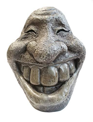 mostromania - testa in simil pietra che sorride - smiley - decorazione con sorriso - statuetta da giardino - per interni ed esterni - idee regalo originali - regali di natale