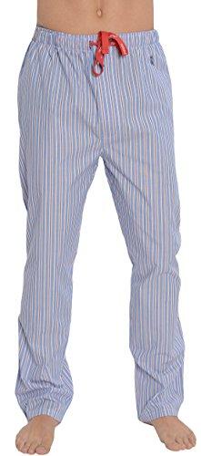 El Búho Nocturno - Herren Lange gestreifte Pyjamahose/Schlafanzughose, Klassische Nachtwäsche für Herren - Popeline, 100% Baumwolle - Größe L - Königsblau, pink und weiß