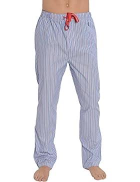 El Búho Nocturno Pantalón de Pijama Largo Clásico a Rayas de Caballero/Hombre - Popelín, 100% Algodón - Color...