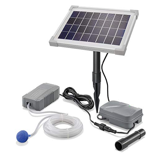 Solar Teichbelüfter Professional mit Akkuspeicher - 5W Solarmodul 130 l/h Luft - extragroßes Solarmodul plus Akku - Gartenteich Belüftung Sauerstoffpumpe Teich Luftpumpe Teichpumpe esotec pro 101843