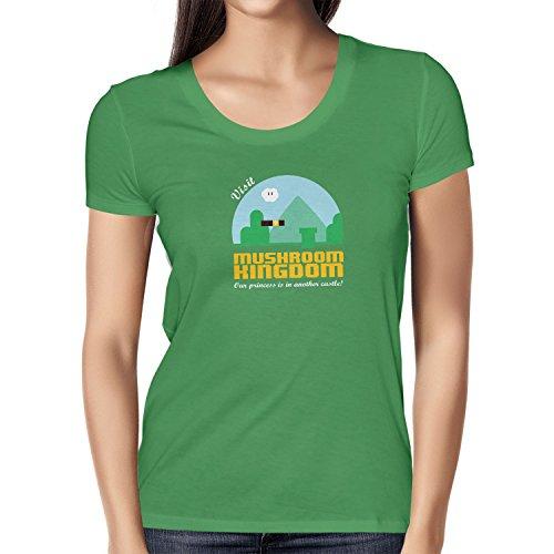 NERDO - Visit Mushroom Kingdom - Damen T-Shirt, Größe XL, grün (Donkey Kong Kostüm Shirt)