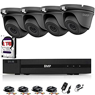 HIZONE PRO 5MP CCTV KIT SECURITY SYSTEM 4K DVR 4CH+&4X 5MP GRAY ULTRA HD METAL HOUSING IP66 WATERPROOF IN/OUTDOOR DOME CAMERAS 20M NIGHT VISION EASY P2P EMAIL ALERT REMOTE VIEW (1TB HDD PRE-INSTALLED)