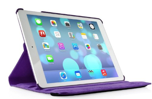 iPad Air cover, Stand Flip Cover 360 Degree Series PU Leather Premium 360 Degree Rotating Stand Flip Cover With auto wake sleep (Purple) 41zY Jbx9FL