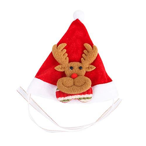 (Wudi Weihnachtsmütze Weihnachten Pet Adjustable Hund Elk-Stirnband Weihnachtsren für kleine und mittlere Hund Katze - Ferien Kostüm Zubehör)