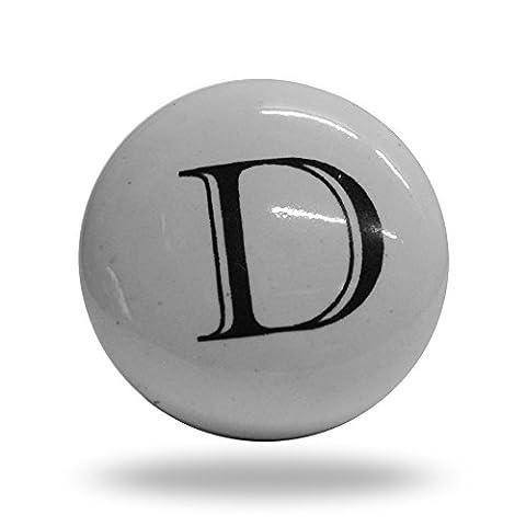 Porte de l'alphabet Lettre D d'armoire en céramique Bouton de tiroir et poignée