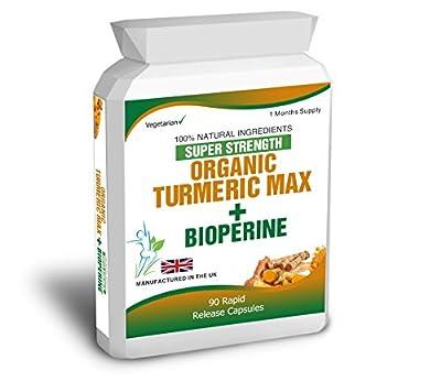 90 Turmeric Pure Organic Curcumin Bioperine Capsules Antioxidant Tumeric by Body Smart Herbals