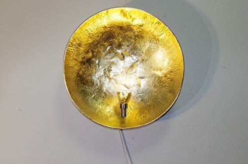 "Design Wandleuchte\""Diego - Gold 52\"" Wandlampe rund innen modern Schlafzimmer Flur Treppenhaus Wandbeleuchtung"