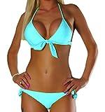 ALZORA Neckholder Damen Bikini Push Up Set Top und Hose Auswahl Farben , 10344 (XS, Türkis)