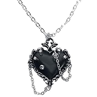 Alchemy Gothic Witches Heart Necklace Silver-Coloured
