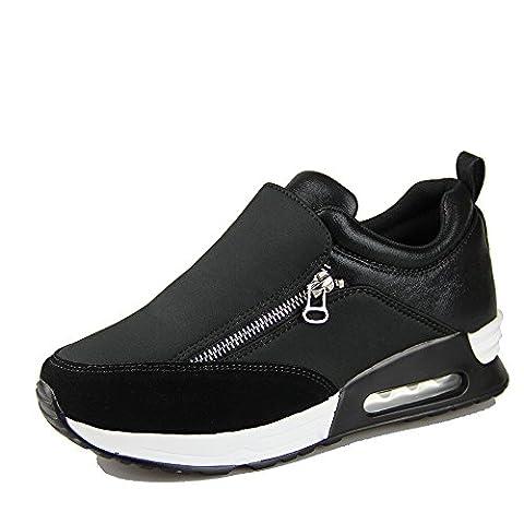 OUOUVALLEY Basket mode haut compensé femme chaussure casuel moderne synthétique sportif (41 EU, Noir)