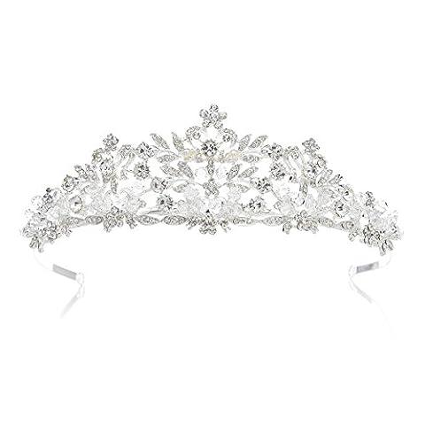SWEETV Luxus Kristalle Krone Braut Tiara Diadem Prinzessin Haarschmuck für