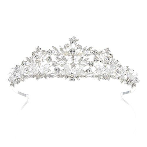 SWEETV Luxus Kristalle Prinzessin Krone Braut Tiara Diadem für Hochzeit Festzüge Abschlussbälle, Silber