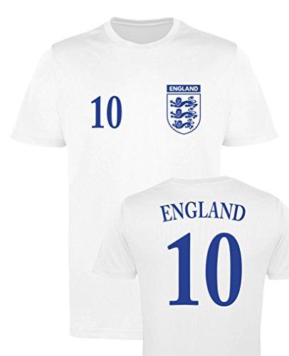 WM EM Trikot - England 10 - Herren T-Shirt - Weiss/Navy Gr. XL