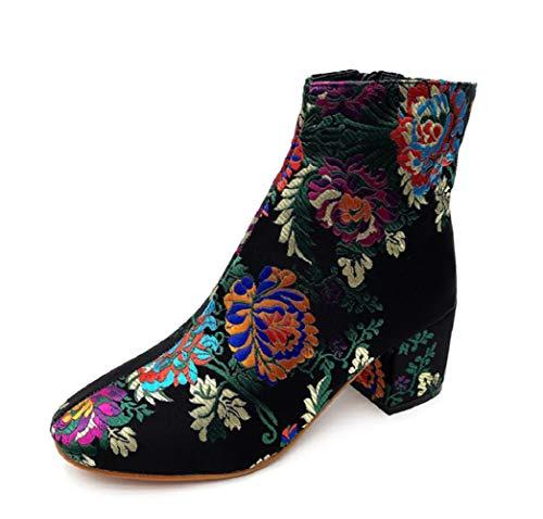 SHANGWU Frauen Damen Block Chunky Mid Ferse Ankle Martin Stiefel Weibliche Casual Stiefel Mode Gestickte Pflanzenmuster Schuhe Retro Kampfstiefel (Farbe : Schwarz, Größe : 36)