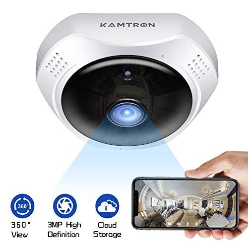 KAMTRON 3MP 1536P 360 ° Fisheye Überwachungskamera WLAN WiFi IP Kamera - Cloud Speicher Panorama Security Camera Cam mit Bewegungserkennung Zwei-Wege-Audio-Nachtsicht für Zuhause und Büro