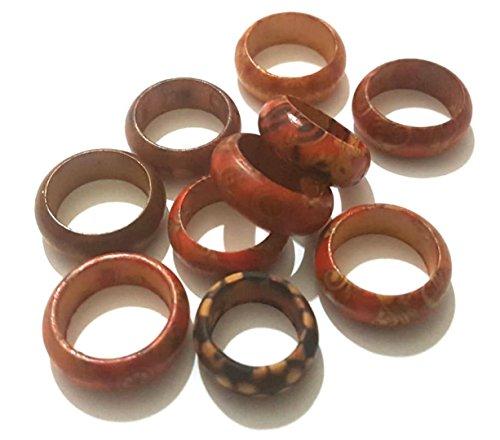 Dojore Ringe, Holz, braunes Muster, 10 Stück 15-18mm. Verschiedene Größen. Zufällige Designs. Ideal für Mode-, Kostüm-Schmuck, Serviettenring und Party-Zubehör.