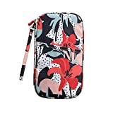 Floral Printed Travel Bag Wallet Purse Document Organizer Zipped Passport Tickets ID Holder