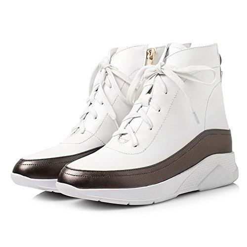 AllhqFashion Damen Mittler Absatz Weiches Material Zweifarbig Reißverschluss Stiefel Weiß