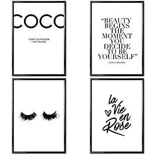 VARIOUS Poster Set of 4 ISO A4 Prints » Coco Chanel « 4 x High Quality Motivational Wall Print 300 GSM | Inspirational Quotes | Frameless Modern Art & Home Decor for Bedroom, Living Room & Bathroom