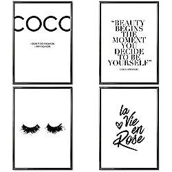 VERSCHIEDENE Poster Set 's » Coco Chanel « 4 x DIN A4 auch mit Bilderrahmen   Bilder schwarz weiß mit Sprüchen für Wohnzimmer   Kunstdruck, Wandbild, Bild mit Spruch für Schlafzimmer mit Rahmen