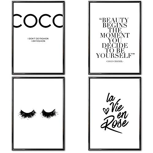 VERSCHIEDENE Poster Set 's » Coco Chanel « 4 x DIN A3 ohne Bilderrahmen | Bilder schwarz weiß mit Sprüchen für Wohnzimmer | Kunstdruck, Wandbild, Bild mit Spruch für Schlafzimmer ohne Rahmen