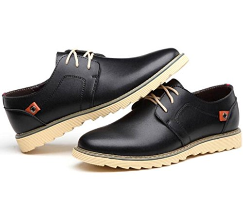 Casual Cuir Chaussures Hommes Angleterre Wild Casual Chaussures Hommes Noir