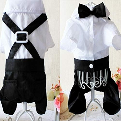 Mens White Tuxedo Shirt (Fashion Dog Clothes Pet Shirt Striped Suit Jacket Coat Wedding Tuxedo Suit Black & White L)