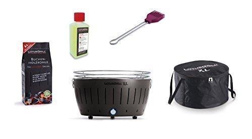 LotusGrill XL Kit débutant 1x anthracite 1x charbon de bois du livre 1kg,1x Pâte brûlante 200ml,1xmarinierpinsel violet prune,1x sac transport - Le raucharme Barbecue / couleurs. toujours garanti La