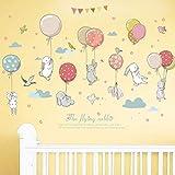 WandSticker4U- Wandtattoo Babyzimmer HASEN HASE FLIEG | Wandbild: 120x72cm | Heißluftballon Ballons Wolken Vögel Blümchen Girlande Pastell Wandaufkleber Poster | Deko für Kinderzimmer Kinder Baby