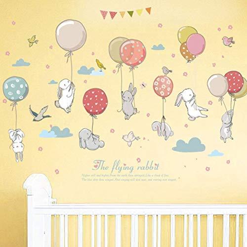 WandSticker4U- Wandtattoo Babyzimmer HASEN HASE FLIEG | Wandbild: 120x72cm | Wandsticker Ballon Wolken Kaninchen Vögel Pastell Wandaufkleber Poster | Deko für Kinderzimmer Baby Kinder Mädchen Junge -